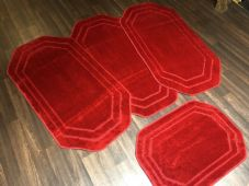 ROMANY GYPSY WASHABLES SET OF 4 REGULAR SIZE 75x125CM MATS PLAIN RED NON SLIP